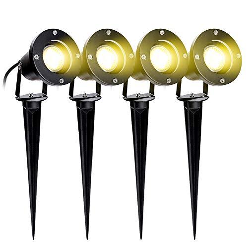 VINGO 4er Pack 4W GU10 LED Gartenstrahler mit Stecker IP65 Wasserdicht Warmweiß 3000K Außen-Strahler Gartenlampe Außenlampe für Baum,Teich,Garten [Energieklasse A++]