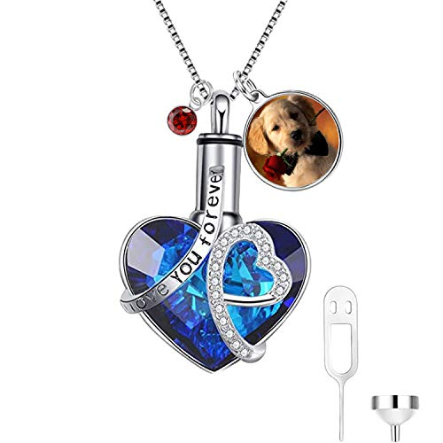 AOBOCO Personalized Cremation Jewelry 925 Sterling Silver Heart Urn Necklace for Ashes, Customized Color Photo Locket Keepsake Urns for Human Dog Ashes Necklace with Austria Crystals Birthstone, Women Memorial Jewelry Bereavement Gifts