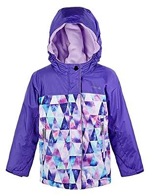 Therm Girls Boys Winter Coat, Waterproof Insulated Ski Jacket - Fleece Lined - Kids Youth (12, Purple Geo)