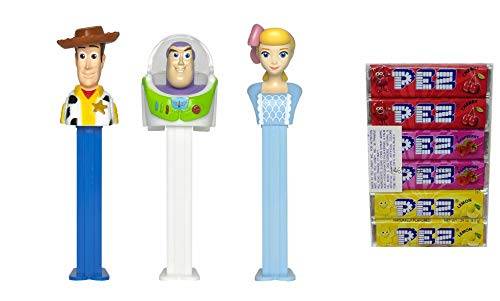 Pez Candy Dispensers Toy Story 4: Buzz Lightyear, Woody, and Bo-Beep Pez Dispensers and Candy Refill Bundle (3 Dispensers and 6 PEZ Candy Refills)