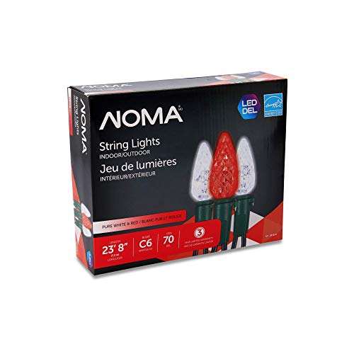 NOMAC6LED Christmas Lights | 70 Red & Pure White Bulbs | 23.8Ft.String Light | UL Certified |Indoor & Outdoor