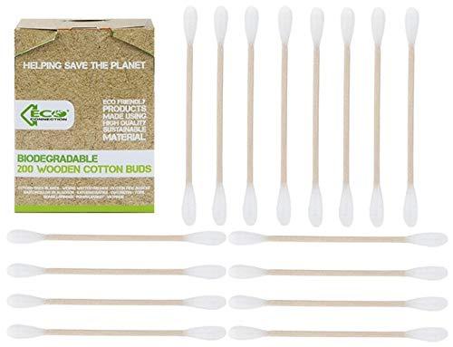 Eco Connection - 1000 cotons en bois biodégradables durables sans plastique