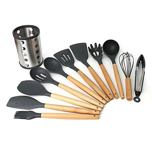Utensilio de cocina sin costuras 11 piezas Utensilios de cocina de silicona Juego de utensilios de cocina Mangos de madera Herramientas de cocina for utensilios de cocina antiadherentes Incluye pinzas