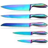 Set di coltelli da cucina, 5 pezzi, lama affilata in acciaio inox tedesca e manico confortevole con rivestimento in titanio arcobaleno, per tagliare e sbucciare, in confezione regalo