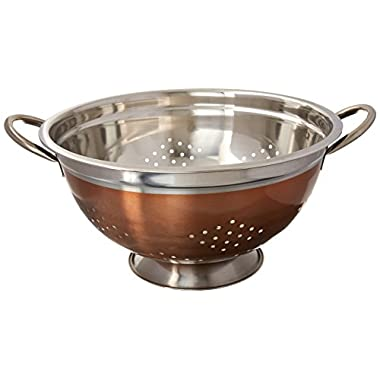 EURO-WARE High Grade Stainless Steel Colander for Pastas or Washing Fruits, Vegetables, Salads and More with Decorative Copper Finish (8 Quart)