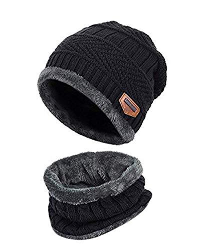 Watooma Kinder Winter Dicke Beanie Hut Schal Set Slouchy Warmen Schnee Knit Skull Cap (Schwarz)