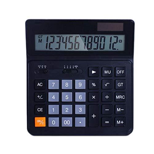 Dual-Power rekenmachine, basisrekenmachine, werkt op zonne-energie, met 12-cijferige rekenmachine, groot display, computer keys, kantoor