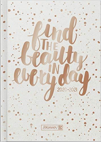 "BRUNNEN 1071820171 ""Gold Glitter"", Wochenkalender/Schülerkalender 2020/2021, 2 Seiten = 1 Woche , Blattgröße 12 x 16 cm , A6 , Hardcover-Einband wattiert"