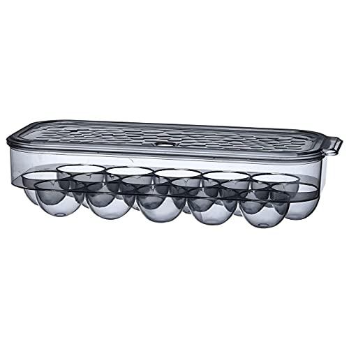 Totkakka Caja de almacenamiento de huevos Soporte para huevos para refrigerador de una sola capa con tapa Soporte para huevos apilable Transparente 16 rejilla Negro