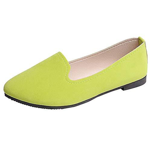 Moda Zapatos de Tacón Bajo de Color Liso para Mujer Jovencita TOPKEAL Casual Zapatos Planos de Trabajo Verde Claro 36