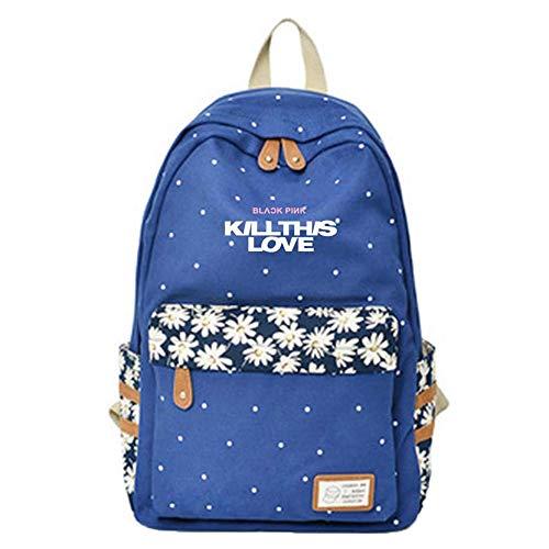 Mochilas Escolares Mochila de Lona Populares Mochilas Impresas Kill This Love Bags para los Fans de Jennie Jisoo Rose Lisa (Color : A02, Size : 30 X 14.5 X 42cm)