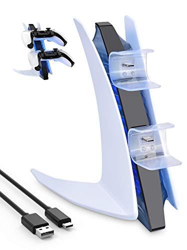 ShinePick PS5 Controller Ladestation, Schnellladung Dualsense Ladestation mit 2 Typ-C Ladeanschlüssen, Blaues Umgebungslicht, Stabil Stativ Rutschfest Ladegerät Ständer für PlayStation 5 Controller