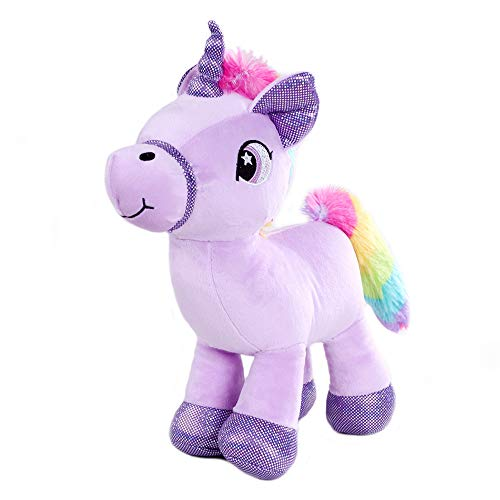 Nanshu 11'' Unicorn Stuffed Animal, Cute Unicorn Pony Plush Soft Horse Toy with Rainbow Tail , Violet Children's Day Gift