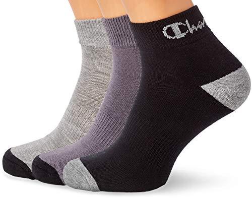 Champion Performance Ankle Calcetines de deporte, Multicolor (Noir/Gris Foncé/Gris Clair 8m0), 43/46 (Pack de 3) para Hombre