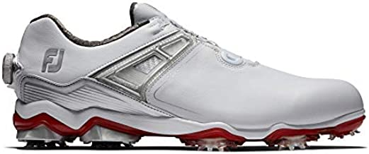 FootJoy Men's Tour X Boa Golf Shoes, White/Grey/Red, 10 M US