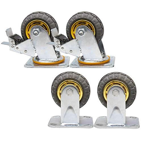 YZZR 4X Schwerlastrollen,ø100/125/150mm Werkbank Rollen Schwenkrollen Mit Bremse,Für mechanische Ausrüstung,Doppellager/1000KG,Verschleißfest