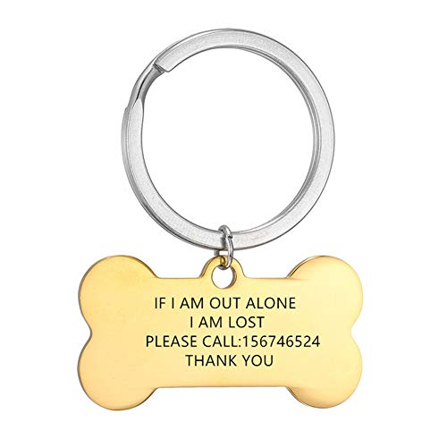 NineJewelry Personalised Dog Tags Keychain - Stainless Steel Engraved Tag Collar for Dogs & Cats, Custom Bone Shaped Pet Name ID Tag,Pet Key Ring