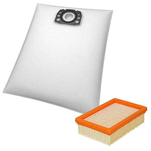 10 Staubsaugerbeutel + 1 Flachfaltenfilter geeignet für Kärcher WD 4, WD 5 und WD 6 Mehrzwecksauger - Beutel-Typ KA 33 inkl. Filter