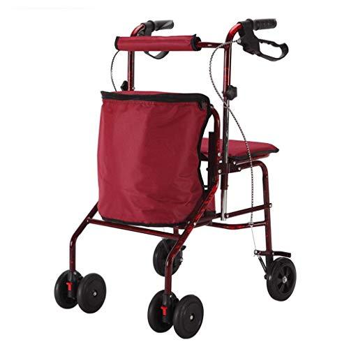 XHF Multifunktions-bewegliche Hand Trucks Einkaufswagen, Old Man Grocery Multifunktions Rollstuhl Folding Hilfs Walker vierrädrigen Wandern Auto Kann Trolley Sitzen,rot,51 × 49 × 93cm