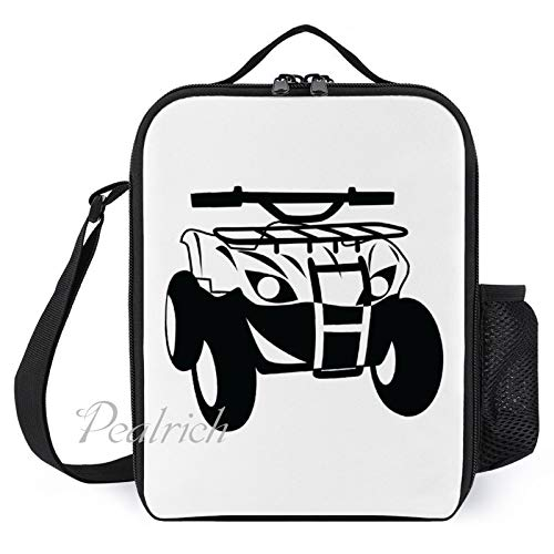 Kids Insulated Lunch Bags Lunch Box for Women with Bottle Holder Side 4 Wheeler Black Fashion Large Lunchbox for Men Adult Reusable Meal Prep Bag for Work School Picnic