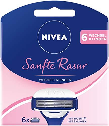 NIVEA Sanfte Rasur Wechselklingen im 1er Pack (1 x 6 Stück), 6 Rasierklingen für NIVEA Rasierer mit Wechselklingen, Rasieraufsätze mit je 5 Einzelklingen und Gleitpad
