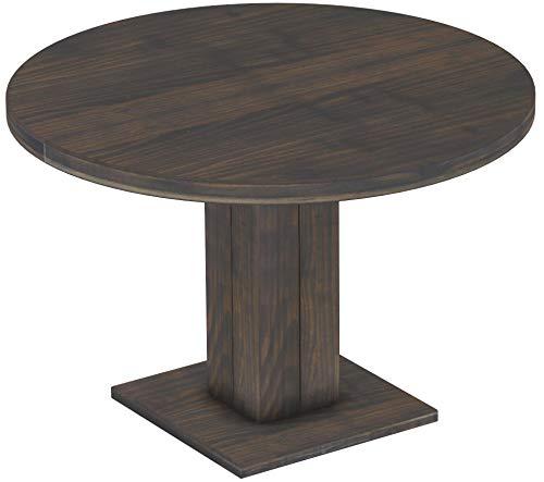 Brasilmöbel Säulentisch Rio UNO Rund 120 cm Granitgrau Tisch Esstisch Pinie Massivholz Esszimmertisch Holz Küchentisch Echtholz Größe und Farbe wählbar