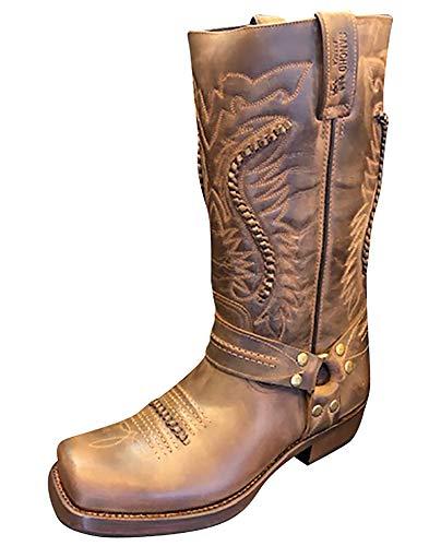 Sancho Boots Cowboydtiefel Westernstiefel Biker Stiefel Motorrad Stiefel 5859 Braun bereits besohlt (Numeric_36)