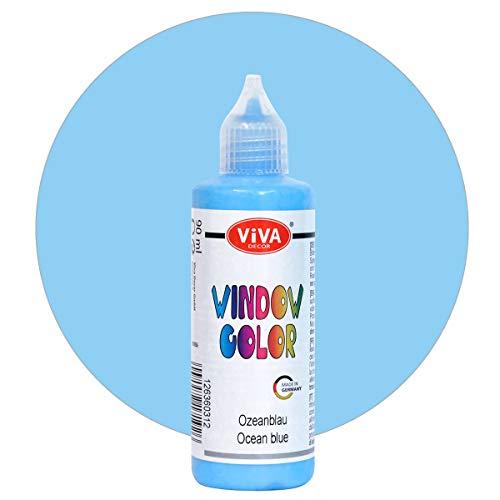 Viva Decor Window Color - Pintura para ventanas (90 ml), color azul océano, para imágenes y pegatinas extraíbles para decoración, espejos, azulejos, jarrones y ventanas, fabricado en Alemania