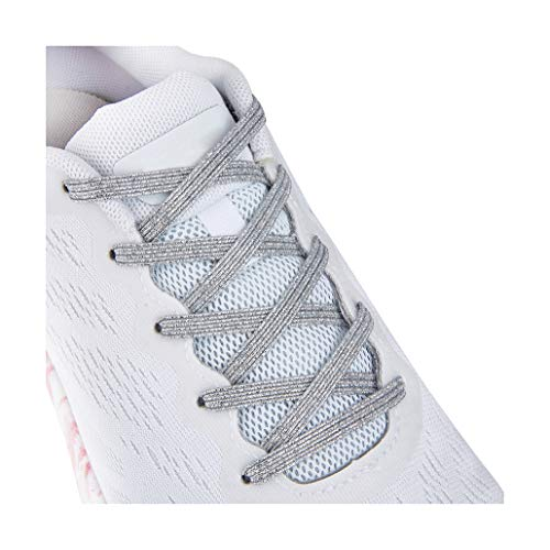 No Tie Tieless Shoe Laces for Adults Kids Shoes , One Size Fits All Elastic Shoelaces for Sneakers Silver