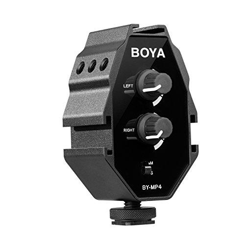 BOYA BY-MP4 2-kanaals audio-adapter met mono-en stereo-schakelaar dual microfoon montage voor iPhone 8 Canon Nikon DSLR-camera camcorder