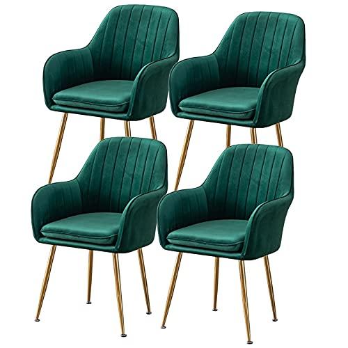 ADGEAAB Juego de 4 sillas de comedor de terciopelo con patas de metal, asiento de terciopelo y respaldos para sala de estar, dormitorio, cocina (color verde oscuro)