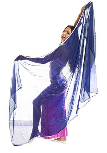 The Turkish Emporium Voile RECTANGLE danse orientale DANSE DU VENTRE BLEU ARGENT
