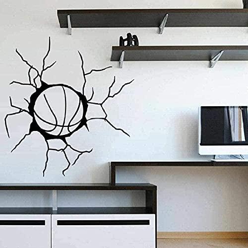 Arte de la pared Pelota de baloncesto Deporte niño Etiqueta de la pared Vinilo extraíble Etiqueta de la pared DIY Autoadhesivo Etiqueta impermeable Decoración interior del hogar 57 * 62 cm