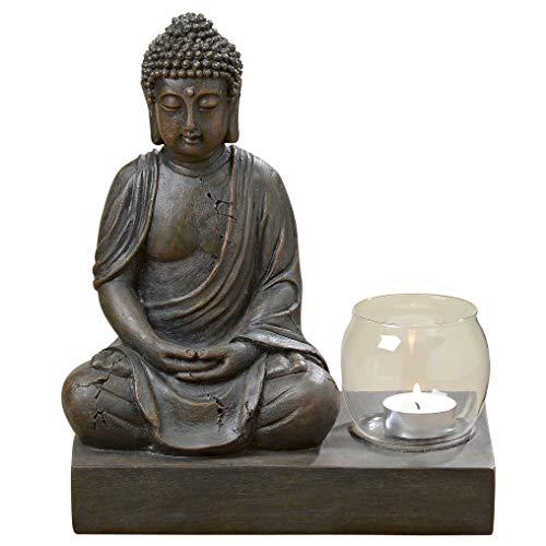 S&D Buddha-Figur mit Tlichthalter meditierend, Buddha-Skulptur, Feng Shui