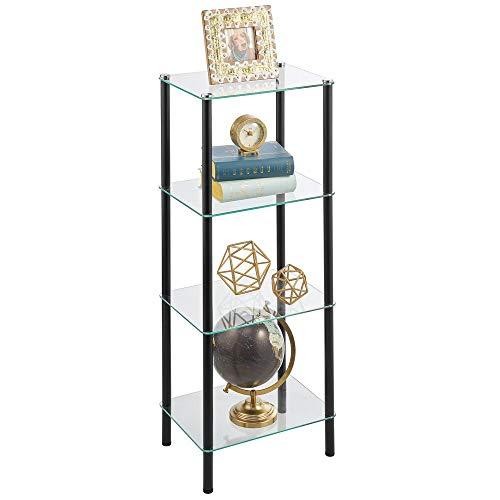 mDesign Estante de pie con 4 baldas – Estante de Metal y Cristal de diseño Moderno – Compacta estantería Decorativa para baño, despacho, Dormitorio o salón – Negro y Transparente