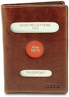 GIUDI ® - Porta passaporto in pelle vacchetta, vera pelle,portafoglio, Unisex Uomo Donna, Made in Italy, porta carte. (Mar...