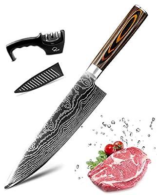 MYVIT Japanese Chef Knife 8 inch Professional Kitchen Knife Sharp Paring Knife [Knife Sharpener Knife Sheath]
