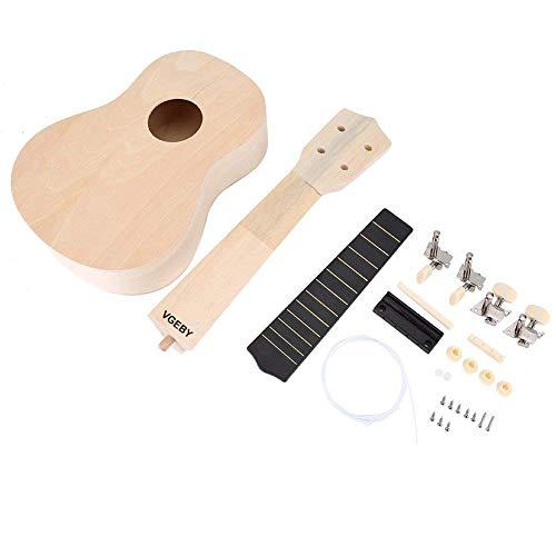 21 pulgadas Ukulele DIY Kit Set Lindenwood Cuerpo Cuello Puente Fretboard Tu ukulele artesanías para el aprendizaje de regalo de los niños