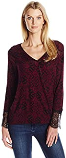 Allison Brittney Women's V-Neck Long Sleeve Surplice Knit Top With Scallop Lace Cuff