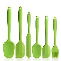 binhai set spatole in silicone - spatola in gomma verde antiaderente 6 pezzi con anima in acciaio inossidabile - set di utensili da cucina per spatole termoresistenti per cottura
