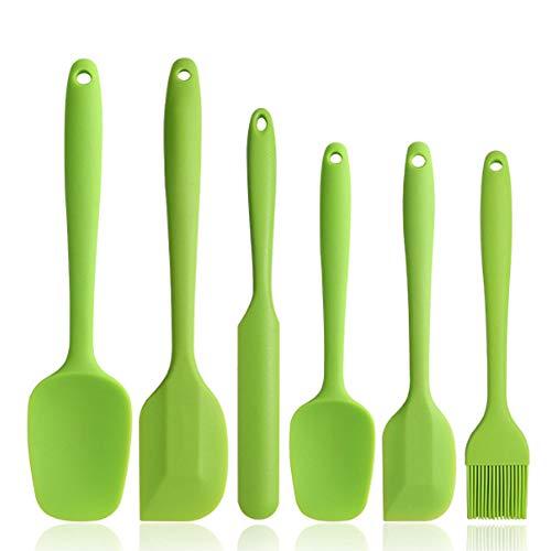 BINHAI Juego de espátulas de silicona de – Verde 6 piezas de espátula de goma antiadherente con núcleo de acero inoxidable – Espátula resistente al calor utensilios de cocina para cocinar