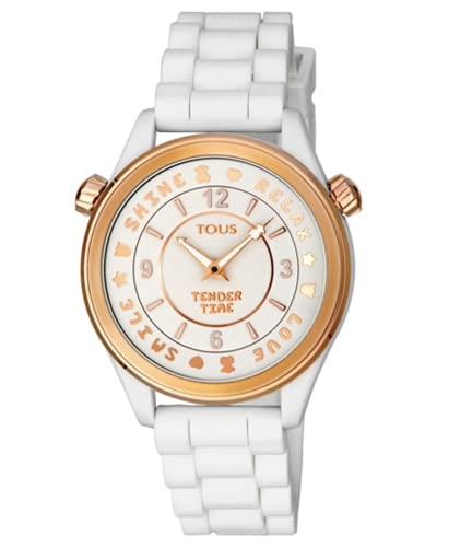 Tous Watches Reloj Tender Time de Acero IP Rosado con Correa de Silicona Blanca