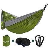 Glymnis Amaca da Giardino Amaca da Campeggio Capacità di Carico 300kg con Kit di Fissaggio Tessuto 210T per Campeggio Giardino Escursioni (275x140, Verde-Grigio)