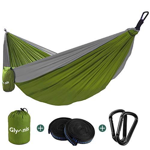 Glymnis Hamac Ultra-léger en Nylon 300kg Capacité de Charge 275x140cm avec 2 x Sangles en Nylon et 2 x Mousquetons pour Camping Voyage Exterieur Jardin (Vert et Gris)