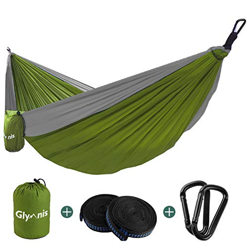 Glymnis Camping Hammock 275 X 140cm for 2 Person Nylon Lightweight Portable Double Hammock with Straps for Camping Backpacking Beach Garden (Green)