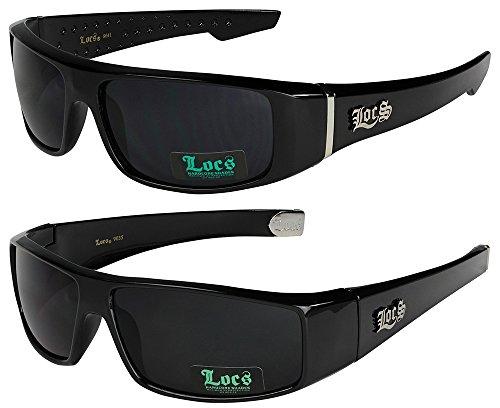 2er Pack Locs Sonnenbrillen Motorradbrille Sportbrille Radbrille - 1x Locs 9041 schwarz und 1x Locs 9035 schwarz