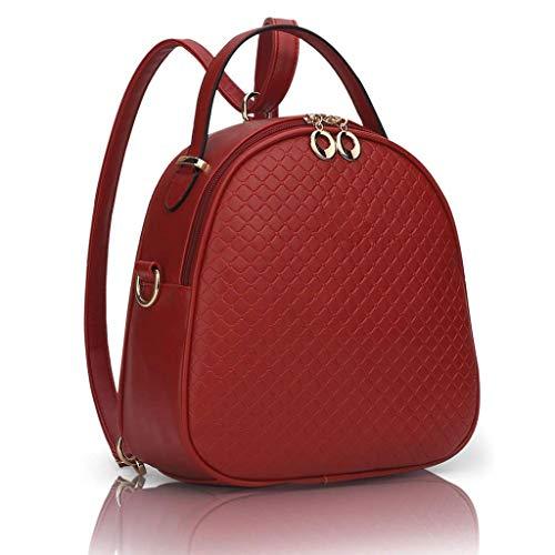 GFDFD Indumentaria Femenina Impermeable Mochila Cartera de Viaje de Moda Lady Hombro Bolsa Mochila Casual (Color : Red)
