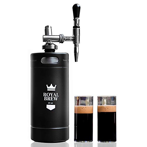 Royal Brew Nitro Cold Brew Coffee Maker Home Keg Kit System (Matte Flat Black 128 oz)