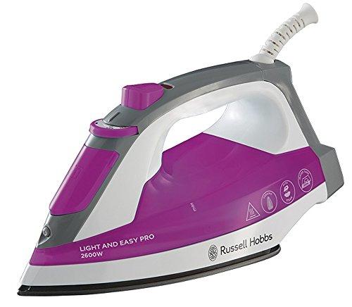 Russell Hobbs 23591-56 Dampfbügeleisen Light & Easy Pro, 2600 Watt, Keramik-Bügelsohle, automatischer Dampf, pink/weiß