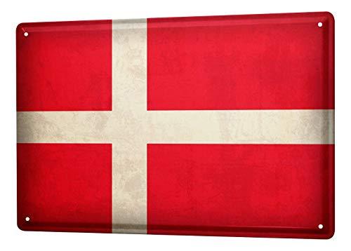 LEotiE SINCE 2004 Blechschild Dekoschild Küche Garage Welt Reise Dänemark Flagge Wand Deko Schild 20X30 cm
